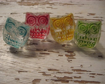4 Colored Owl Glass Knobs Vintage Style Glass in Blue, Pink, Yellow, Lime Green Reproduction Hardware Vintage Style Animal Accents  B-15