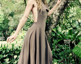 Size XS/S Hemp Lycra Tally-ho Backless Cowl Neck Halter Dress
