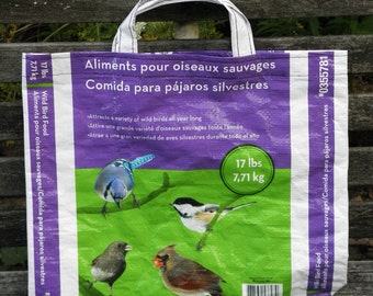 VALUE PRICED,  Upcycled Recycled Repurposed  Grocery Market Tote or Gift  Bag for  Bird Lovers