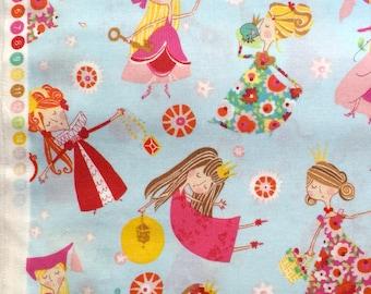 Alexander Henry fabric  'fair maidens' blue pre-cut FQs
