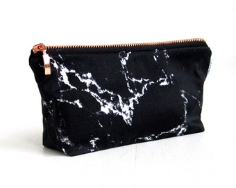 MARBLE bag // black marble makeup bag pouch case rose gold copper zipper white marble made by renna deluxe