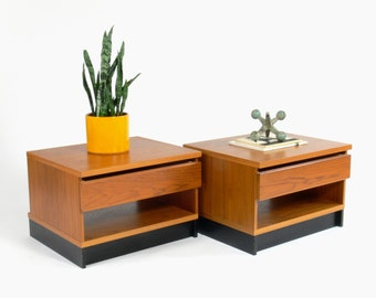 Mid Century Modern Westnofa Teak Bedside Tables // Nightstands (Set of 2)
