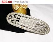 Art Deco Era Sash Brooch - Great Gatsby Sew On Accessory - Rhinestone Sash Pin - Vintage 1920's 1930's 1940's Era