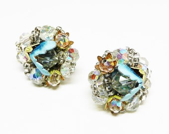 Vendome Signed Crystal Earrings - Enamel Blue w/ Gold Flower Petals and Faceted Crystal Bead Clip ons - Vintage Jewelry
