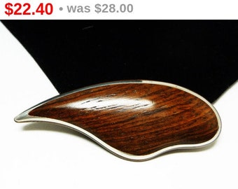 Mid Century Modernist Brooch - Wood & Silver Abstract Pin - Vintage 1950's Jewelry