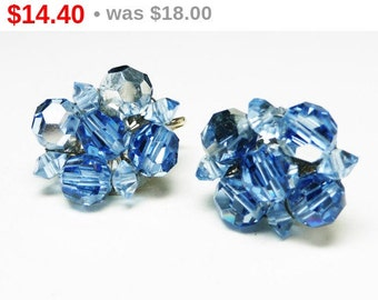 Vintage Coro Crystal Earrings - Blue Crystals Beads - Mid Century 1950's Clip on's