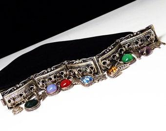 Sterling Charm Bracelet and Charms - Camel, Donkey, Maletese Cross, bell, Leaf, bird, Rose - Gemstones - Link Mediterranean Bracelet