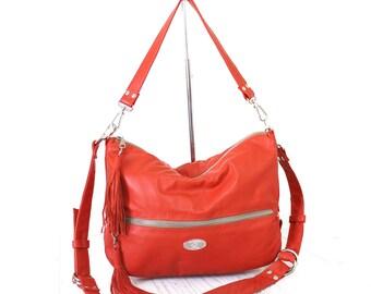 SALE Tangerine Italian Leather Valentina Hobo Bag. Orange Shoulder Handbag. Crossbody Purse. Classy Work Bag. Comfy Slouchy Bag