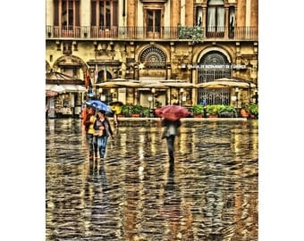 "Fine Art Digital Print of Rainy Day in Florence Italy - ""Umbrellas in the Piazza"""