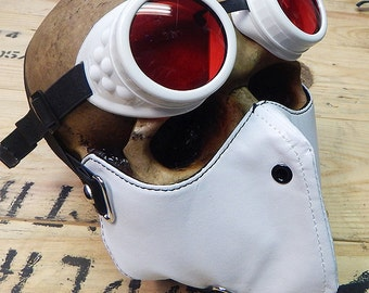 STEAMPUNK MASK - 2 pc. set of White Steampunk Dust Riding Mask with Matching Steampunk Goggles - Burning Man Mask