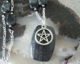 Picasso Marble Pentagram Necklace, wiccan jewelry pagan jewelry wicca jewelry witch witchcraft pentacle gothic gypsy magic wiccan necklace