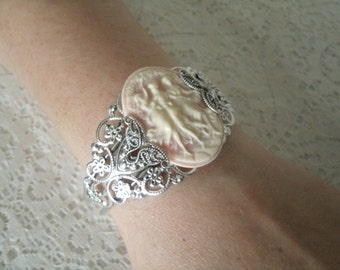 Triple Goddess Cuff Bracelet, wiccan jewelry pagan jewelry wicca jewelry goddess jewelry witch witchcraft magic metaphysical wiccan bracelet