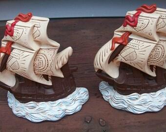 Vintage Beautiful Pair of Atlantic Mold Ceramic Bookends Pirate Sailing Ships