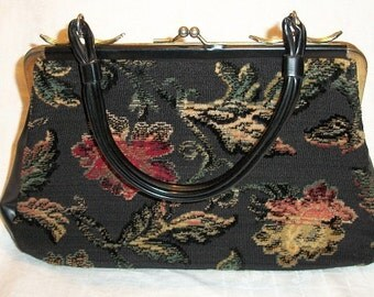 Vintage Beautiful Tapestry Purse Evening Bag with Raised Design
