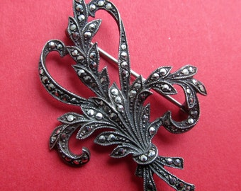 Antique Sterling Silver Marcasite Art Deco Floral Brooch Pin Jewelry