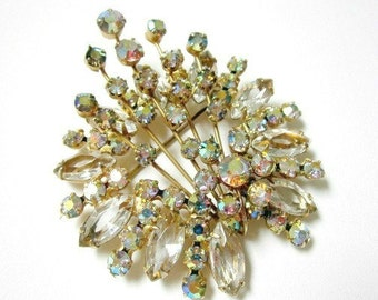 "Vintage Juliana Spray Brooch Delizza Elster Brooch Vintage Aurora Borealis Pin 2 5/8"" Big Gift for Mom Gift for Her"