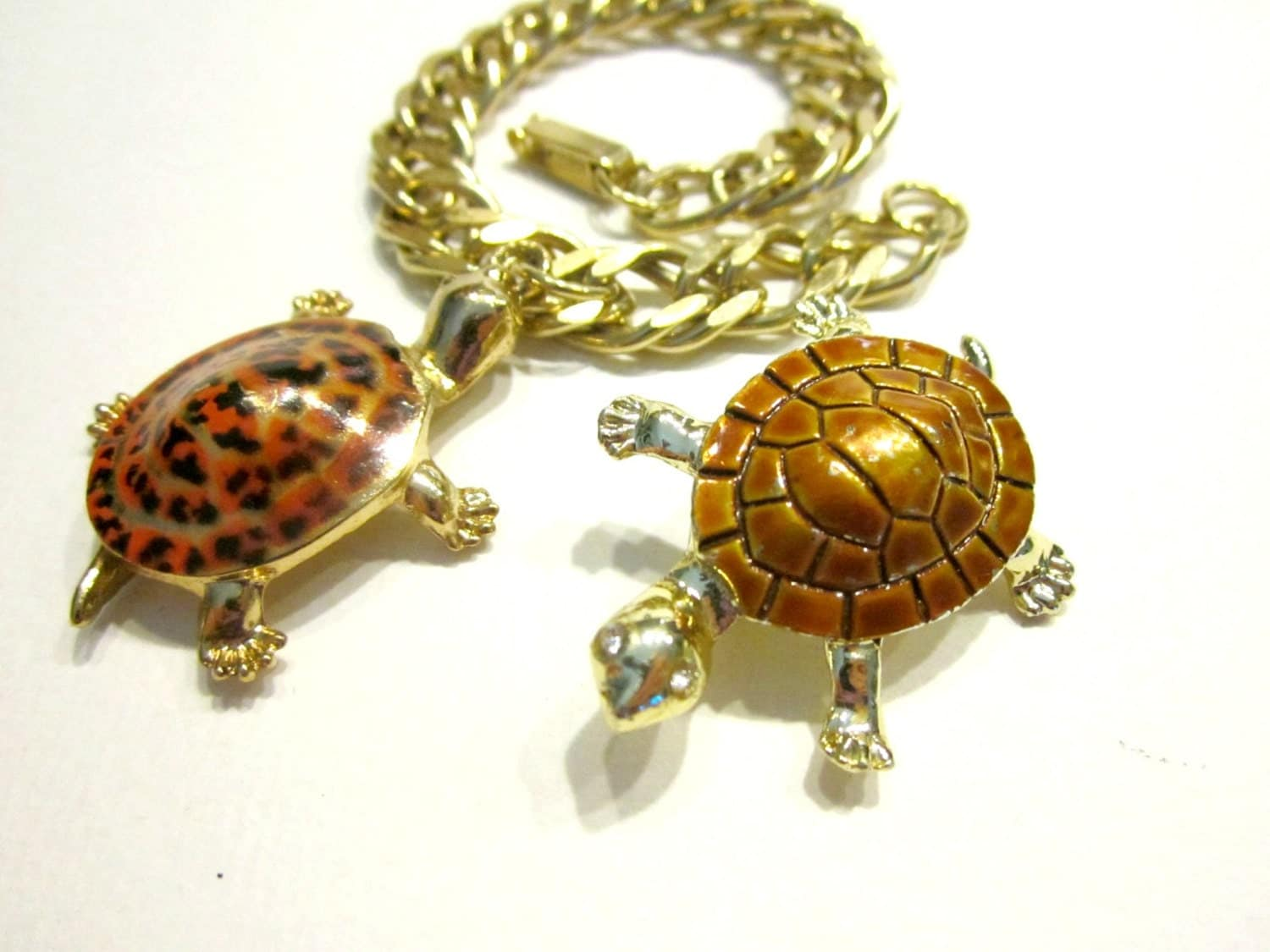 vintage turtle charm bracelet large orange spotted turtle