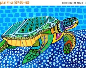 Marked Down 50% - Sea Turtle Art - Art Poster Print of painting by Heather Galler - Modern Folk Art Ocean (HG825)