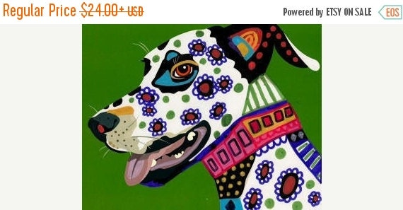 Marked Down 50% - Dalmatian art dog Poster Print of painting by Heather Galler Dalmations - Heather Galler (HG352)