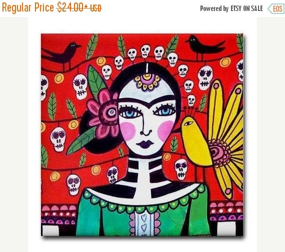 55% Off- Day of the Dead Art Ceramic Tile Frida Kahlo Mexican Folk Art  Sugar Skulls Coaster