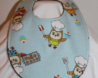 Baking Owl Flannel / Terry Cloth Bib