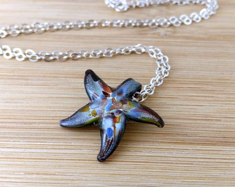 Glass Starfish Necklace Nautical Jewelry Dichroic Glass Starfish Pendant Sterling Silver Ocean Necklace Beach Jewelry Multi Colored Glass