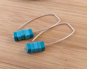 Blue Gemstone Beaded Earrings. Sterling Silver Open Rectangle Dangles. Blue Earrings. Turquoise Dyed Howlite. Stacked Gemstones.