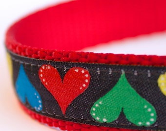 Colorful Hearts Dog Collar, Love Pet Collar, Ribbon Adjustable Dog Collar
