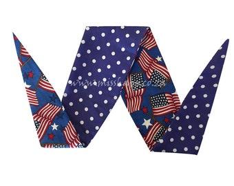 American Flag/ Polka Dot Reversable Bandana