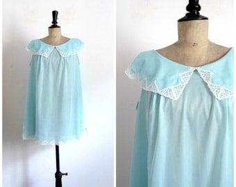 Vintage 60s Babydoll Light Blue Mini Nightie / Slip Dress / Summer Dress / Vintage Lingerie / Medium to Large