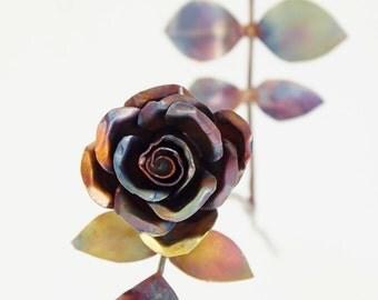 Tiny Natural Copper Rose Metal Sculpture