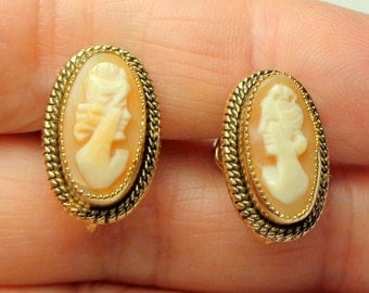 Cameo Earrings, Antique Cameos, 12K Gold Filled, Vintage Cameo, Hand Carved, Conch Shell, Carved Shell Cameos, Screw Back Earrings