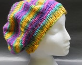 MADE TO ORDER Slouchy Rainbow Knitted Hat | Acrylic Rasta Hat | Hippy Hat | Vegan-Friendly Hat | Teen and Adult Hat