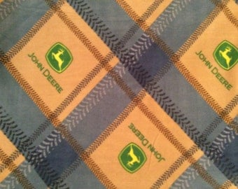 A Wonderfully Soft John Deere Tractors Patch Fleece Logo Fabric Sold By The Yard Free US Shipping