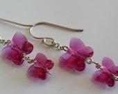 Fuchsia Pink Swarovski Crystal Butterfly Duo Drop Earrings