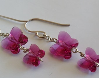 Fuchsia Pink Swarovski Crystal Butterfly Duo Drop Earrings
