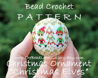 Christmas Ornament Christmas Elves - Crochet PDF File TUTORIAL - Christmas Ornament Vol.14 with Swarovski Crystals