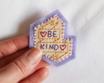 Hand Embroidered Patch Be Kind Pastel Lilac Purple