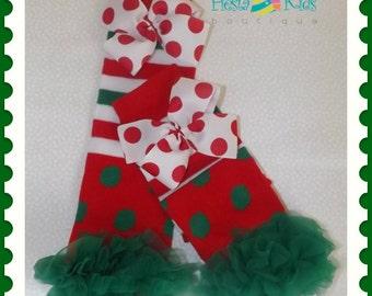 Polka dot leg warmers with bows, Christmas ruffled leggings, dots and stripes socks, red and green