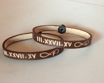"Couples bracelet  - 2 x Personalized Leather Bracelet -Date - Roman Numeral Date - infinity sign - initials - Friendship - ""free Engraving"""