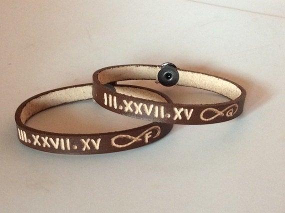 couples bracelet 2 x personalized leather bracelet date
