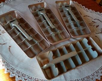 4 Vintage Metal Ice Cube Trays Philco Retro Kitchen Freezer Utensil