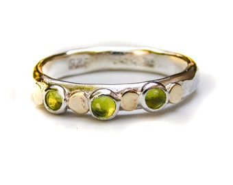 Anniversary ring, Silver and gold ring, Stacking ring, Peridot ring, Gemstone ring, August Birthstone ring, gift for her, Birthday gift