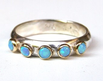 Anniversary ring,Blue Opal ring, Fine jewelry, Stacking rings ,Birthday gift, Statement rings,wedding band ,Handmade engagement ring
