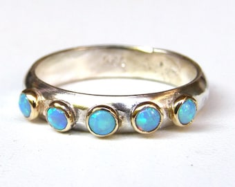 Blue Opal ring, Fine jewelry, Stacking rings ,gift for her, gift ideas, Statement rings,  MADE TO ORDER ,wedding band ,Handmade engagement