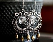 Boho copper dangle earrings, wire wrapped hoops, oxidized copper, Czech glass, chandelier, drop, bronze, Mimi Michele Jewelry