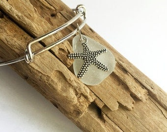 White Seaglass & Starfish Bangle, Sea Glass Bangle, Sea Glass Jewelry, Starfish Jewelry, Stackable Bracelet, Charm Bracelet