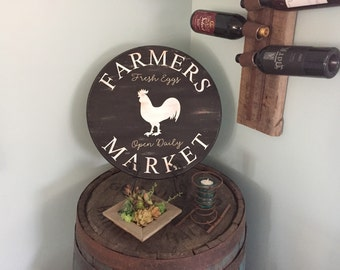 """Vintage Inspired Farmers Market Chicken Eggs Hand Painted 18"""" Round Wooden Sign"""