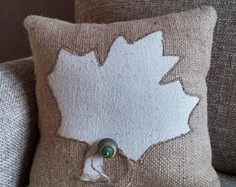 Small leaf decorative burlap pillow