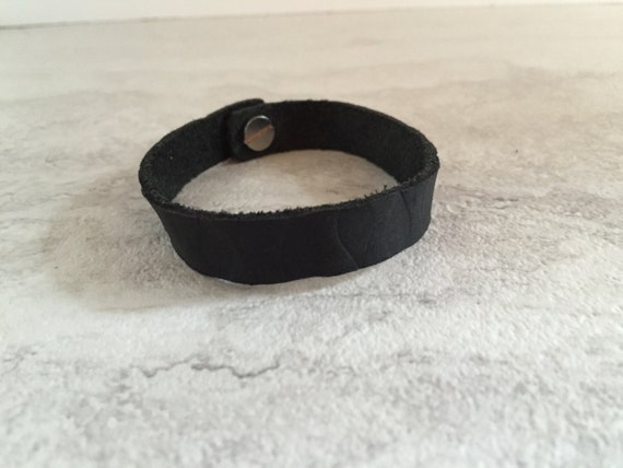Women's Thin Black Leather Branded Bracelet